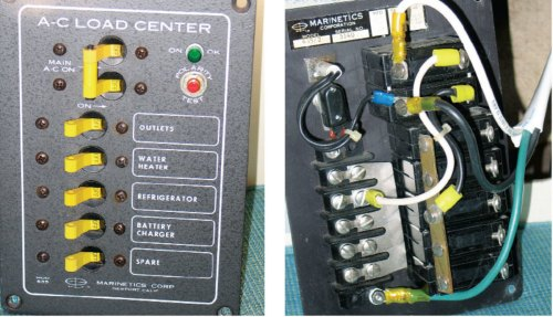 small resolution of shore power upgrade sail magazinethis older model ac distribution panel has a polarity tester and an