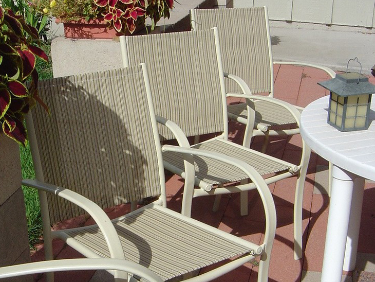 outdoor chair fabric wheel prices selecting patio sling replacement sailrite chairs recovered by customer eleanore f