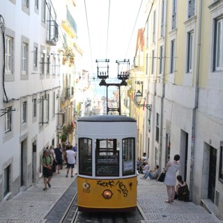 Yellow Tram in Bairro Alto, Lisbon, Portugal | Sailsandspices.com