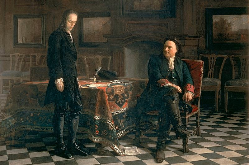 Peter the Great interrogating Tsarevich Alexey Petrovich at Peterhof