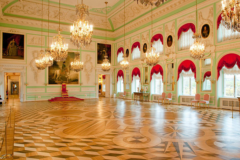 Throne Room at the Grand Palace in Peterhof, west of Saint-Petersburg, Russia