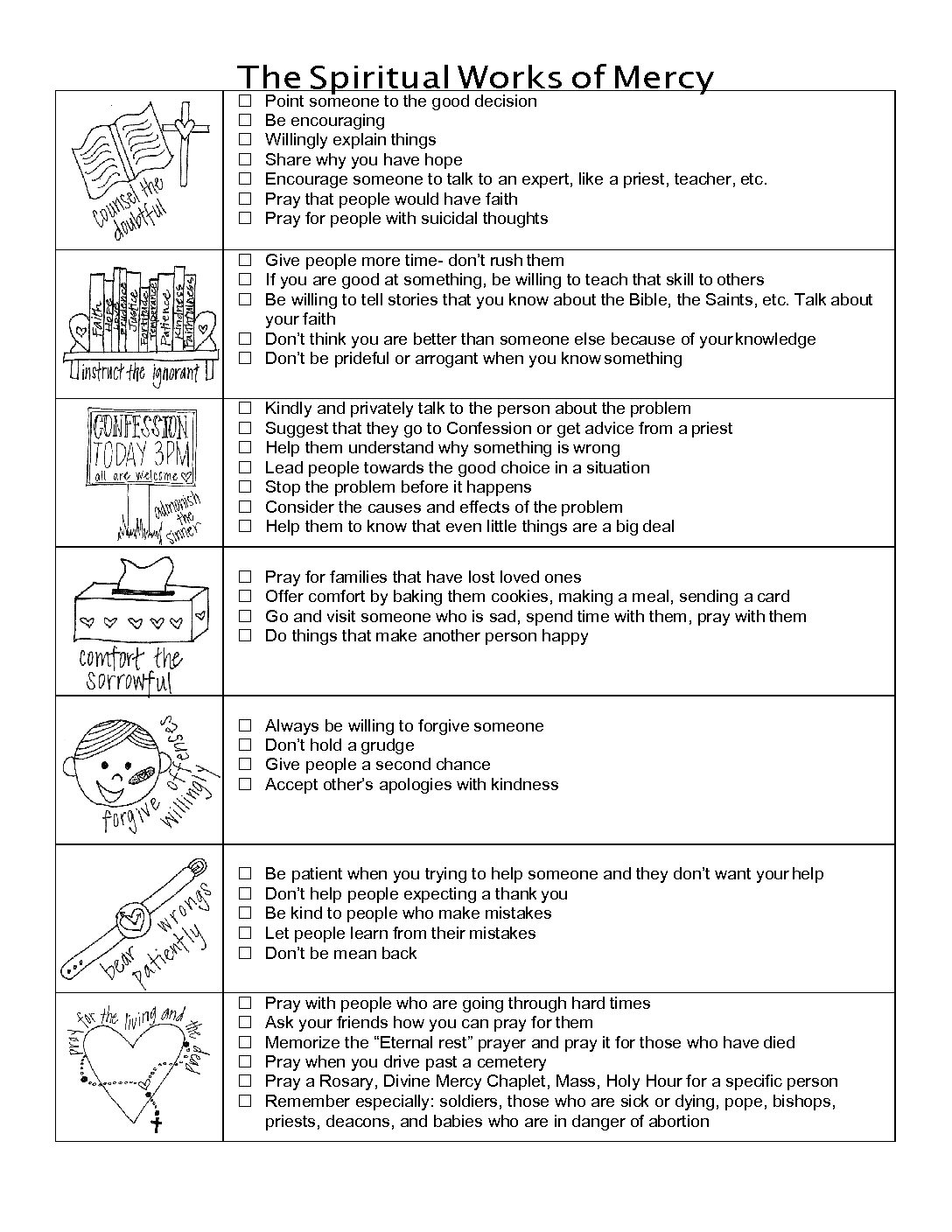 Corporal And Spiritual Works Of Mercy Worksheet