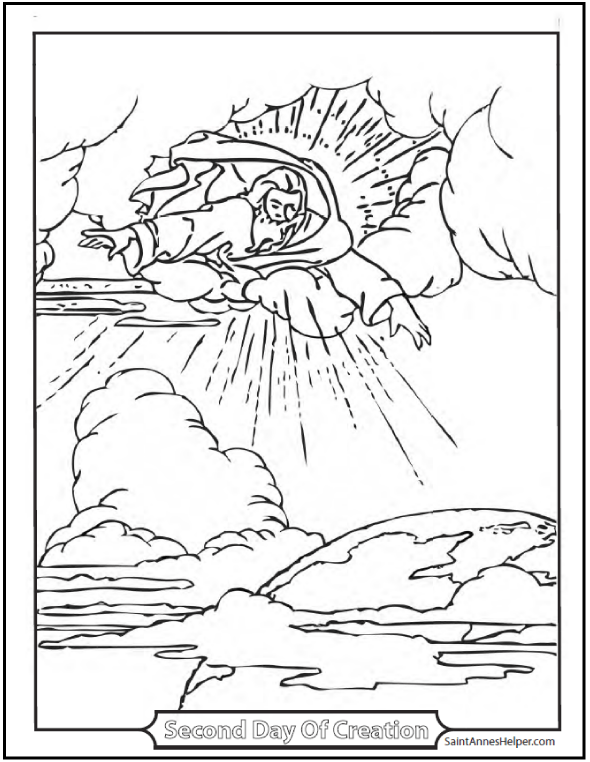 Creation Coloring Page: God Made The Firmament
