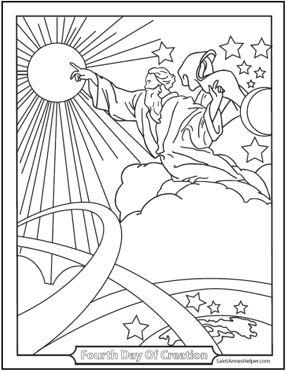 Creation Coloring Pages God Made The Sun, Moon, And Stars