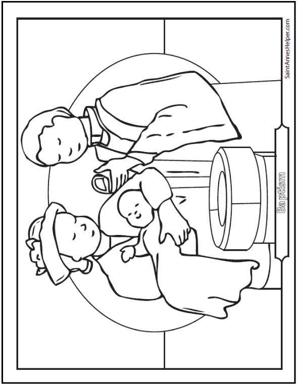 Baptism Coloring Sheet: Baby At The Font