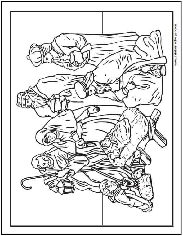 Christmas Coloring Page Nativity Scene With Mary And Joseph Shepherds