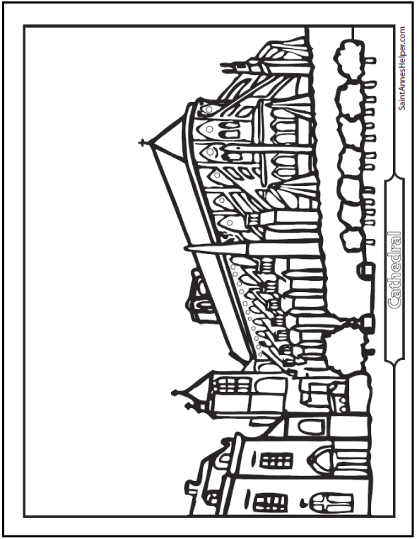 Cathedral Coloring Page