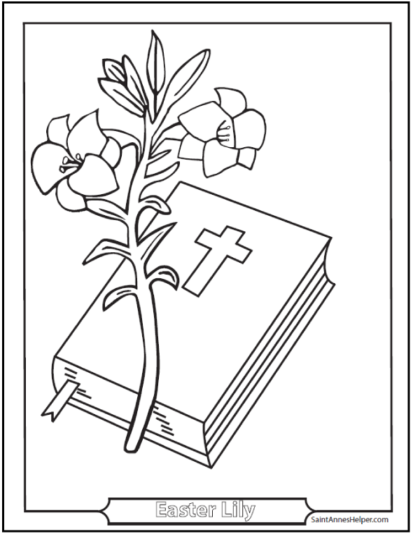 Easter Lily Coloring Page With Bible