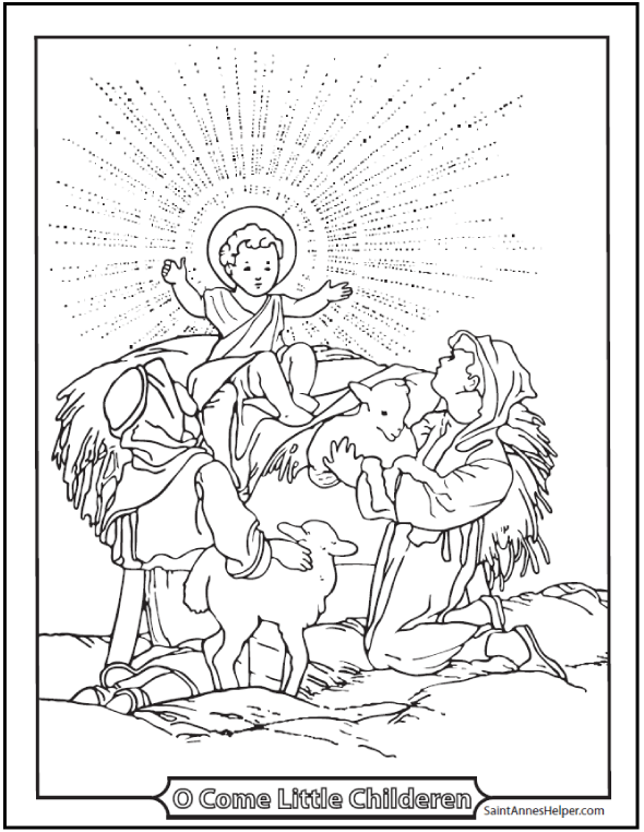 Jesus Christmas Coloring Page: With Shepherds