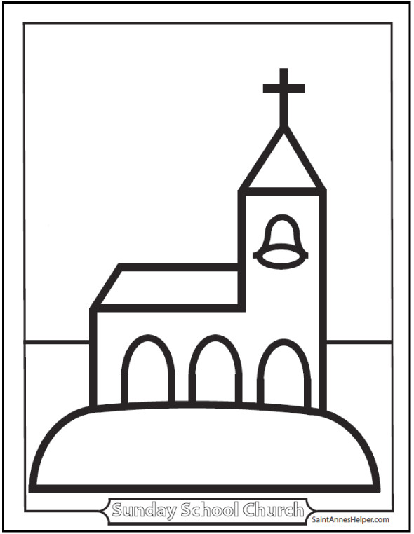Coloring Sheets For Children: Church For Preschool