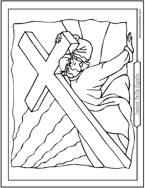 Good Friday Coloring Pages: Jesus Carrying His Cross In Lent