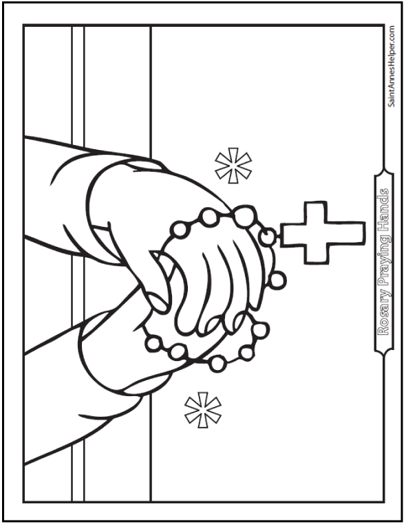 Rosary Coloring Page: Picture of Praying Hands With Rosary