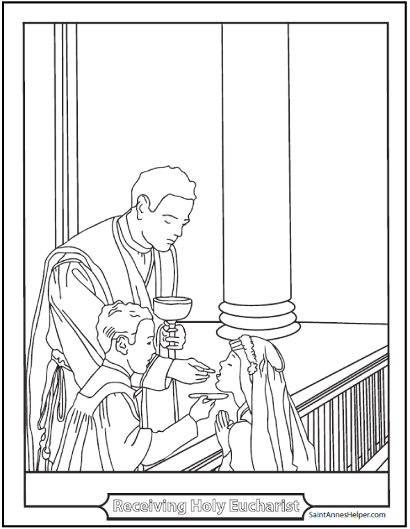 Holy Eucharist Coloring Page For The Sacrament