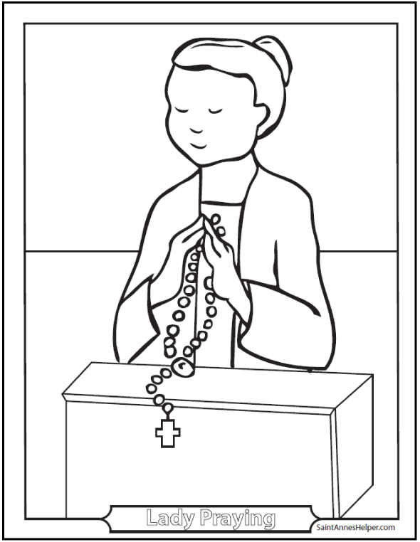 Praying Girl Coloring Page: Praying the Rosary