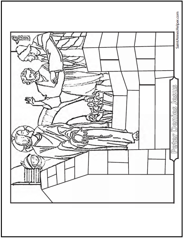 Peter Denies Jesus Coloring Picture