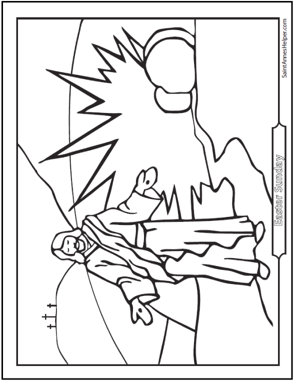 Resurrection Coloring Page: Jesus On Easter Sunday