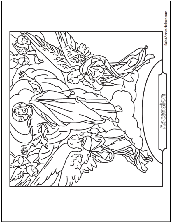 Jesus' Ascension coloring page. Easter and Glorious
