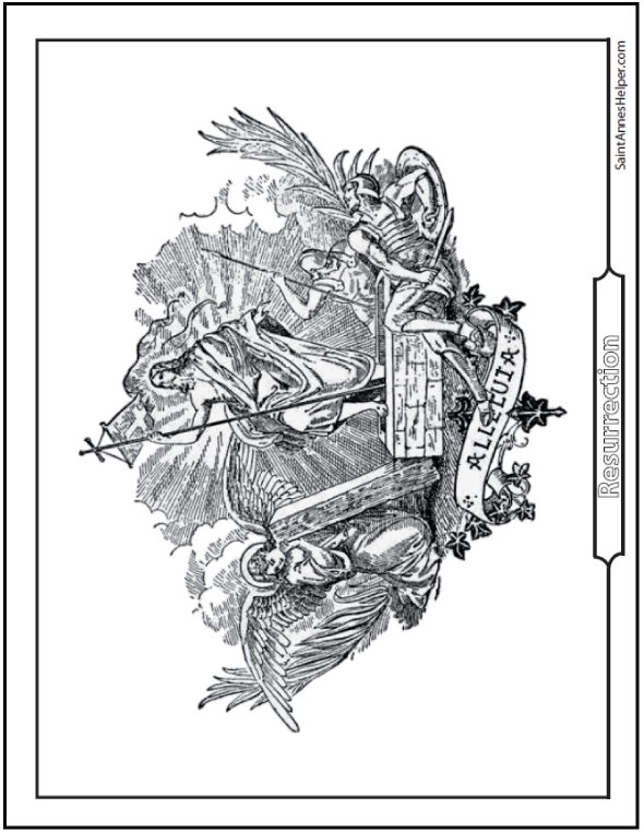 Jesus Resurrection Coloring Page: Angels And Soldiers