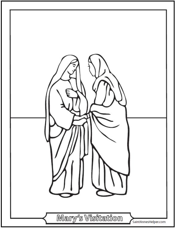 Visitation Coloring Page: Mary Visits Elizabeth