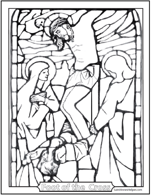 Stained Glass Coloring Page + Jesus' Crucifixion