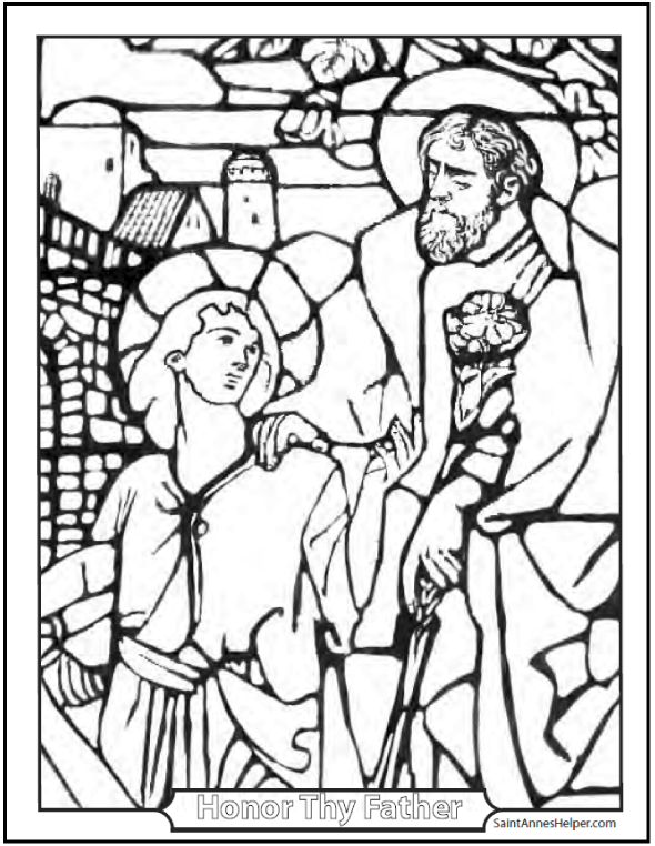 Joseph And Jesus Coloring Page: Perfect Father And Son!