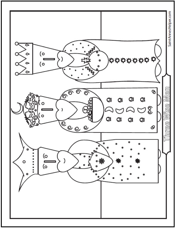 Three Kings Coloring Page: Wise Men From The Orient