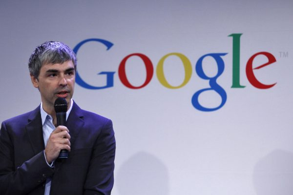 Google CEO Page speaks during a press announcement at Google headquarters in New York