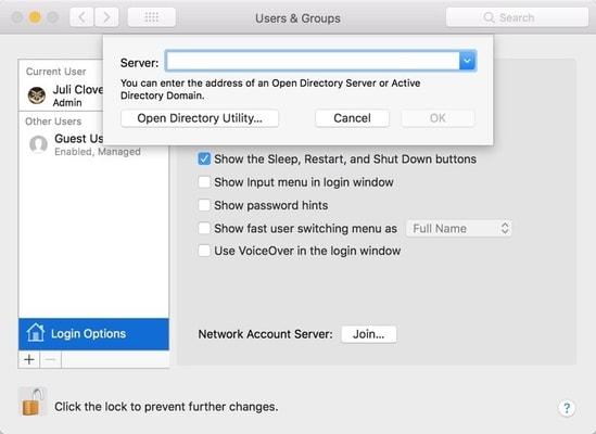 macos high sierra - directory utility