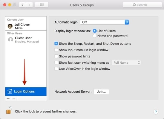macos high sierra - login options