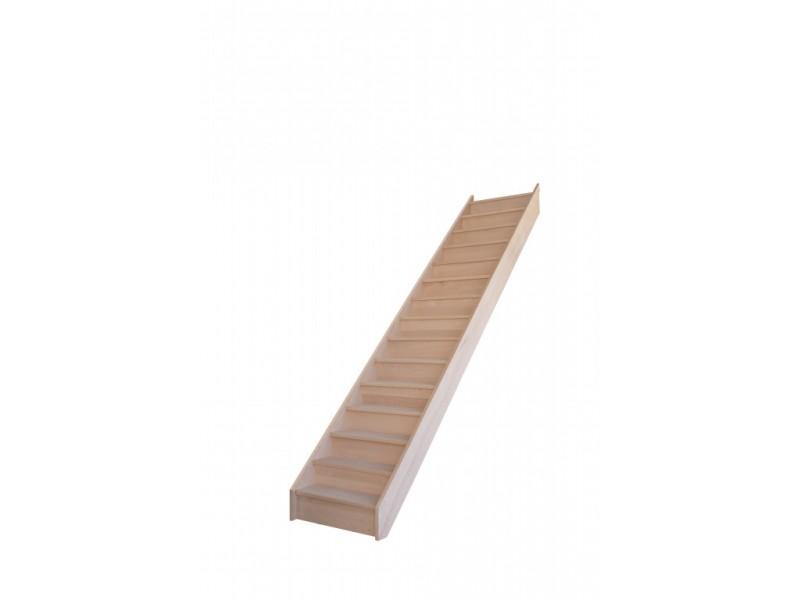 escalier droit en hetre avec contre marches sans rampe hauteur 300 cm