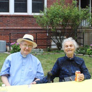 Fr Mike, looking very dapper, and Mrs. Josie Solecki