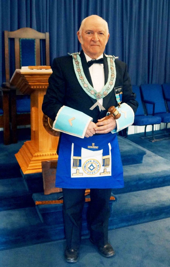 R.W.B. Bob Crawford as Worshipful Master of Temple Lodge No. 33. April 2015 (photo by Temple Lodge No. 33 Historian)