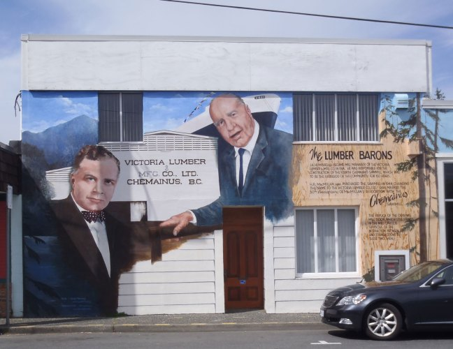 The Lumber barons mural in downtown Chemainus, B.C., showing John Alexander Humbird on the left (photo by St. John's Lodge No. 21 Historian)