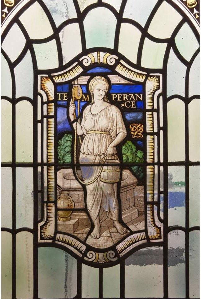 United Grand Lodge of England stained glass window depicting Temperance, one of the Four Cardinal Virtues (Courtesy of United Grand Lodge of England)