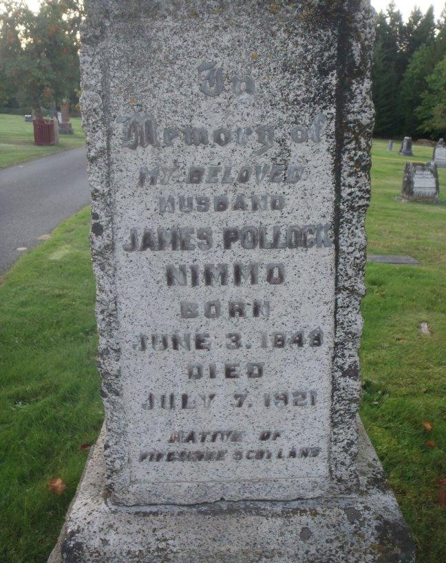 James Pollock Nimmo, grave inscription, Ladysmith Cemetery (photo: St. John's Lodge No. 21 Historian)