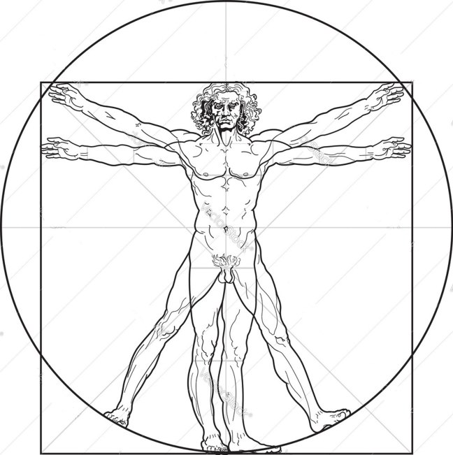 Leonardo da Vinci's Vitruvian Man, taken from Vitruvius' Ten Books On Architecture, Book III, Chapter 1.