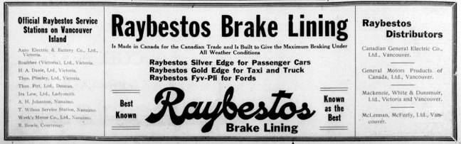 1927 advertisement for Raybestos Brake Linings mentioning its Ladysmith distributor, Lowe's Garage, operated by St. John's Lodge No. 21 member Ira Eugene Lowe.