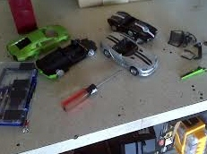 broken toy cars