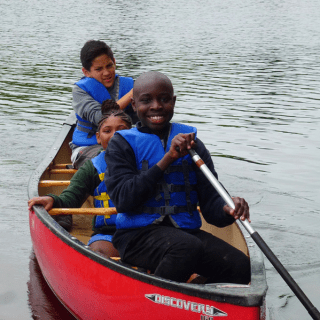 Saint Martin de Porres Academy students canoeing a the Berkshire Outdoor Education Center in MA