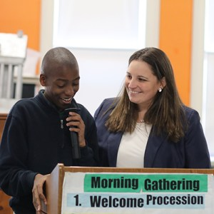 Student Speaking at Morning Gathering
