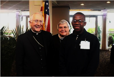 The Most Reverend Leonard Paul Blair, Sister Mary Grace Walsh  and SMPA student Christian