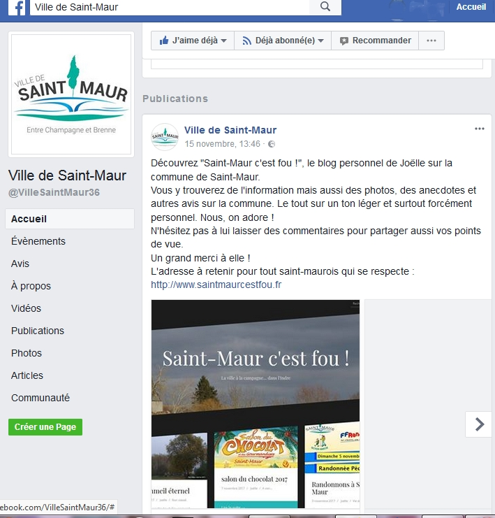 Capture d'écran de la page avec le post