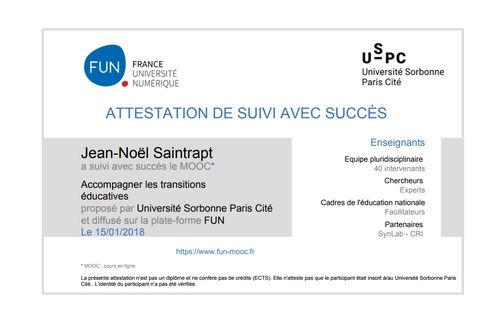 Attestation du MOOC  Transition Éducative