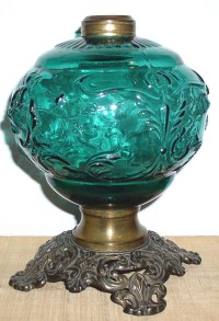 Antique GWTW Parlour Teal Green Roses Lamp Base  Thingery