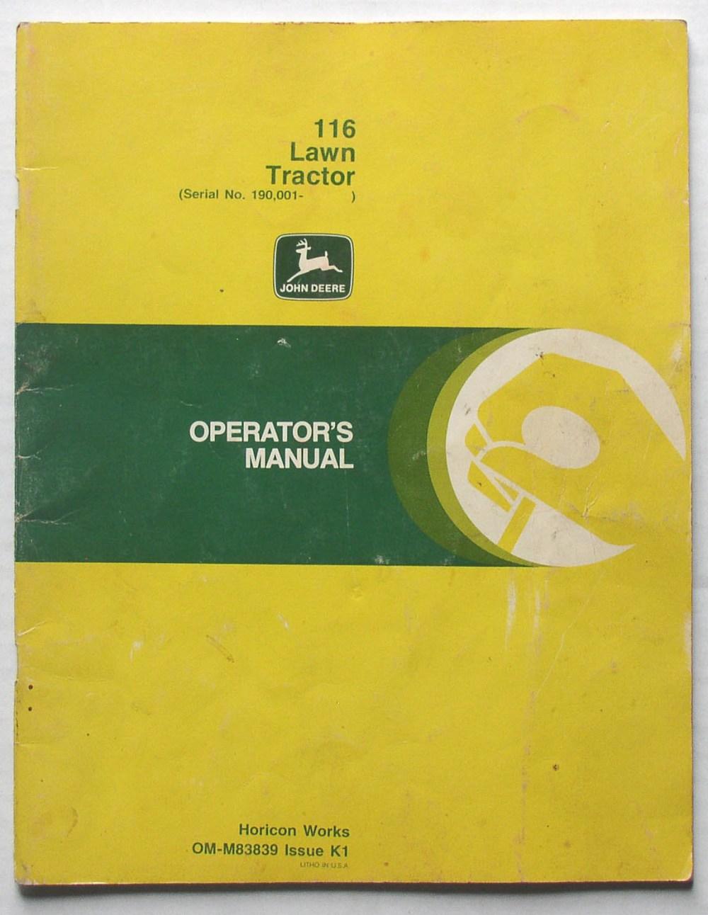 medium resolution of original john deere 116 lawn tractor operator s manual