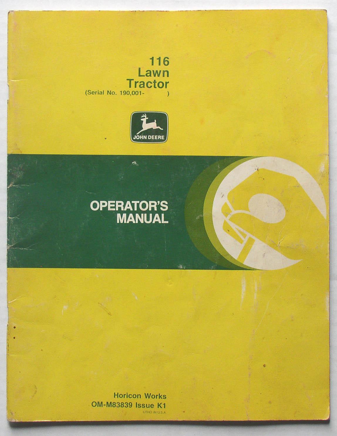 hight resolution of original john deere 116 lawn tractor operator s manual