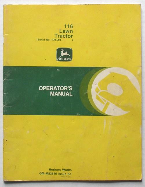 small resolution of original john deere 116 lawn tractor operator s manual