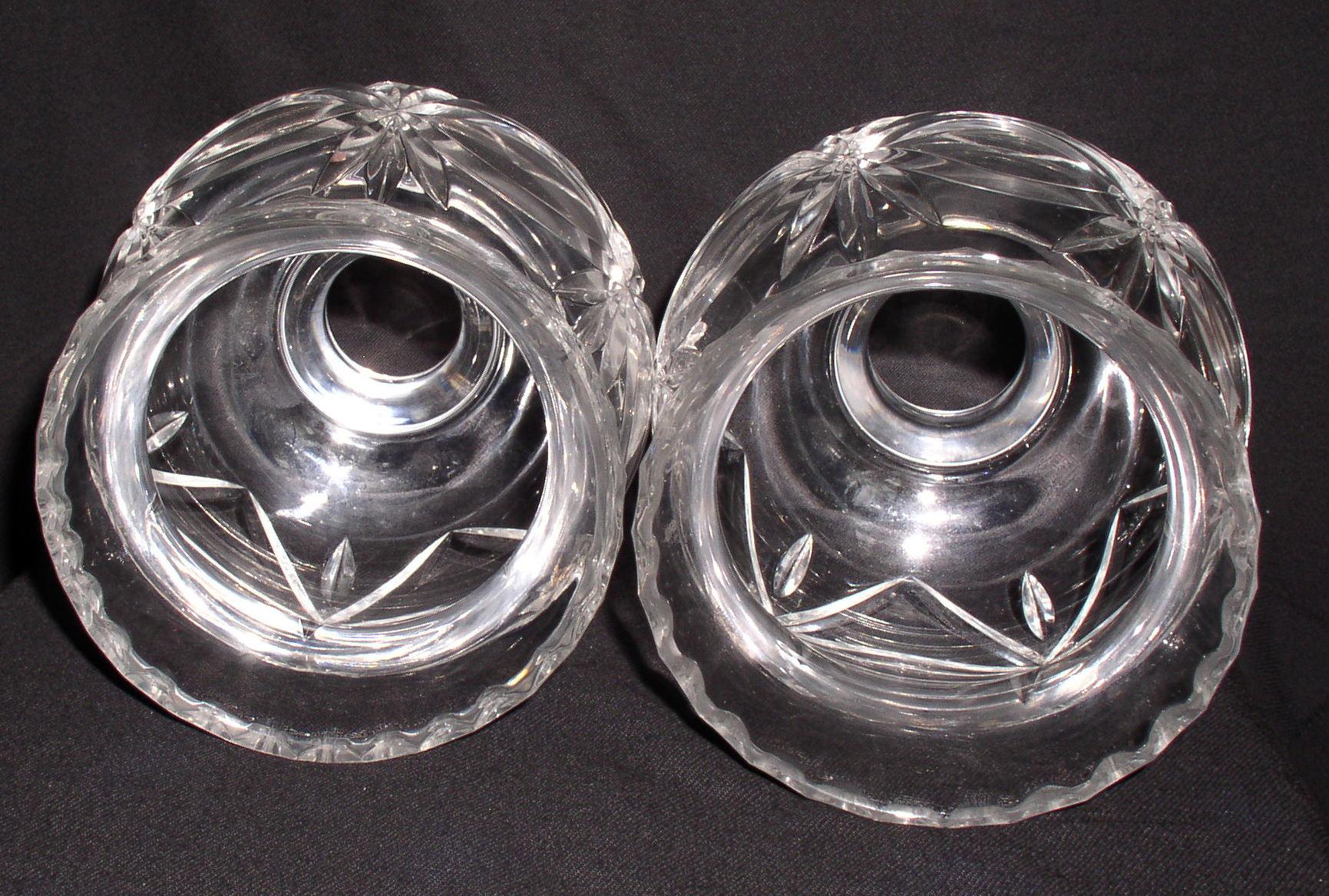 Pair Lead Crystal Hurricane Lamp Globe Shade Chimneys