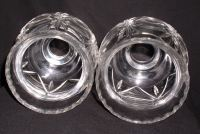 Pair Lead Crystal Hurricane Lamp Globe Shade Chimneys
