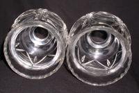 Pair Lead Crystal Hurricane Lamp Globe Shade Chimneys ...